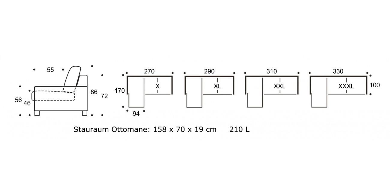 Polstermöbel Line mit Ottomanelement